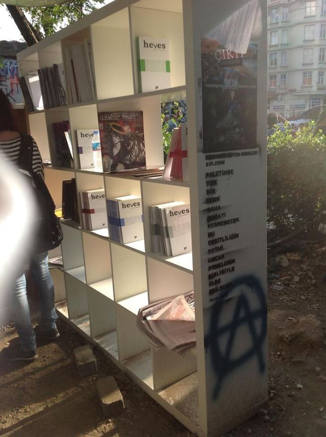 One shelf of the library. See how we managed not  to take anyone's picture? Super hard since the library was PACKED.