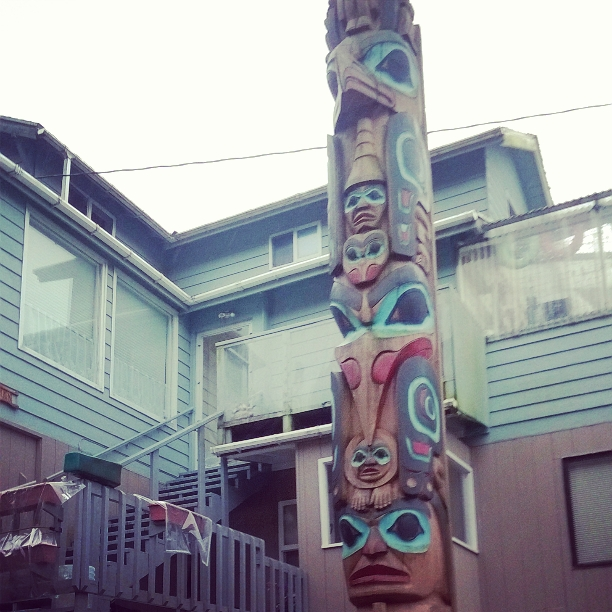 Totem pole with matching house.